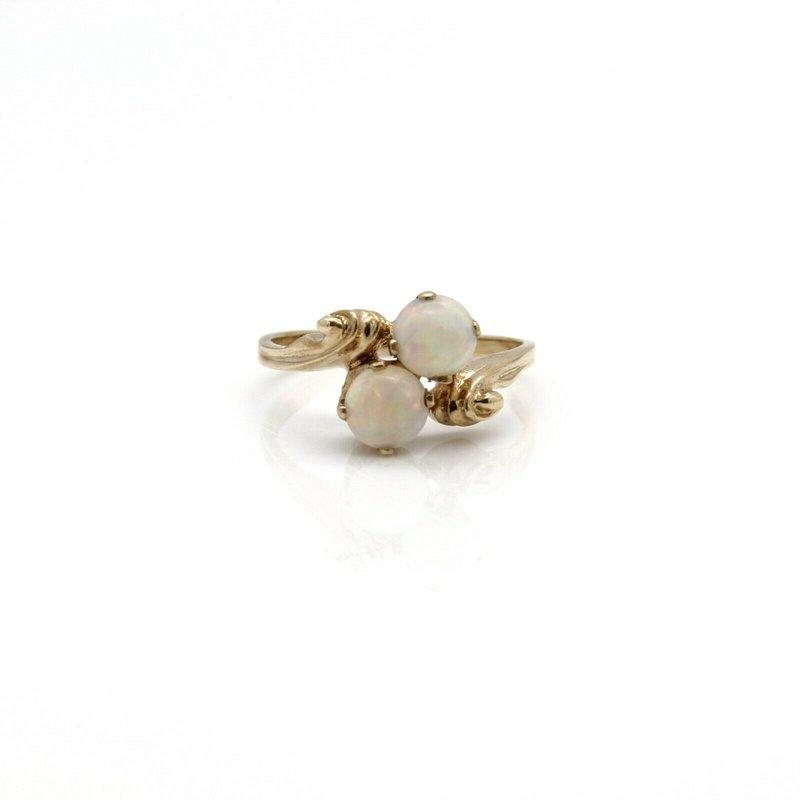 Esemco VINTAGE ESEMCO 10K YELLOW GOLD DUAL ROUND CABONCHON WHITE OPAL RING SZ 6 #JB63-6