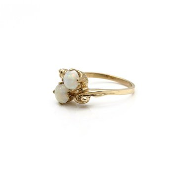 VINTAGE ESEMCO 10K YELLOW GOLD DUAL ROUND CABONCHON WHITE OPAL RING SZ 6 #JB63-6