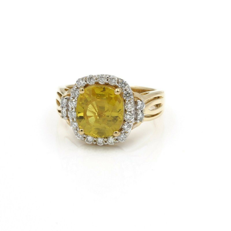 National Rarities ORIANNE COLLINS 18K SOLID GOLD YELLOW SAPPHIRE AND DIAMOND HALO RING  J653-1