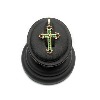 14K GOLD CHRISTIAN CROSS PEDANT WITH EMERALDS AND DIAMOND ACCENTS BIN #1021B-11