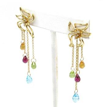 18K SOLID GOLD BRIOLETTE DROP EARRINGS CITRINE PERIDOT BLUE TOPAZ GARNET 1105B-9
