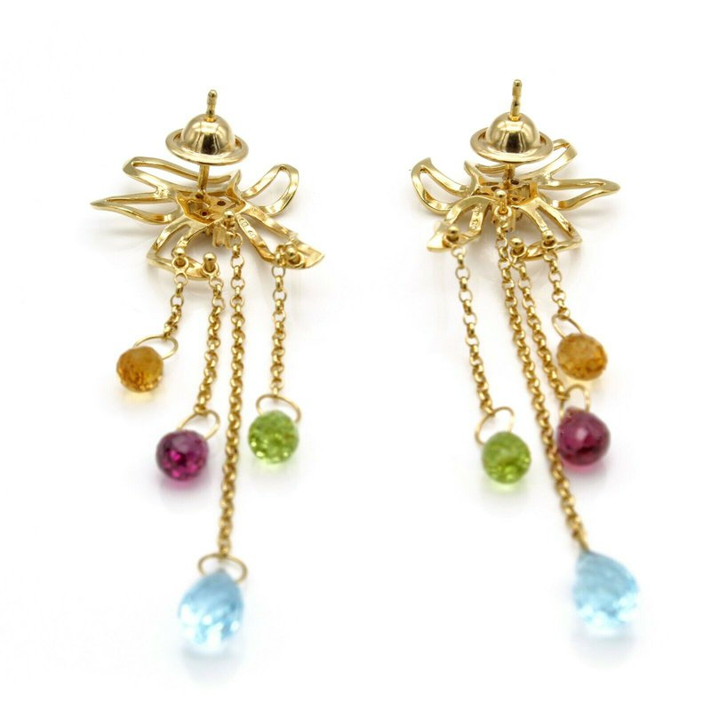 National Rarities 18K SOLID GOLD BRIOLETTE DROP EARRINGS CITRINE PERIDOT BLUE TOPAZ GARNET 1105B-9