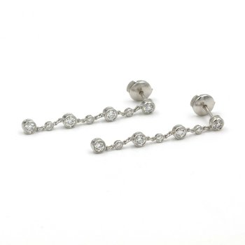 TIFFANY AND CO. PLATINUM 1.40 CTW DIAMONDS BY THE YARD BEZEL DROP EARRINGS E-117
