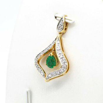 18K WHITE AND YELLOW GOLD 0.65 CT EMERALD AND DIAMOND DROP PENDANT #JB75-10