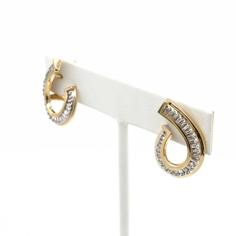 National Rarities 14K SOLID GOLD .50 CTW TAPERED BAGUETTE DIAMOND UNIQUE SWIRL EARRINGS #JB35-4