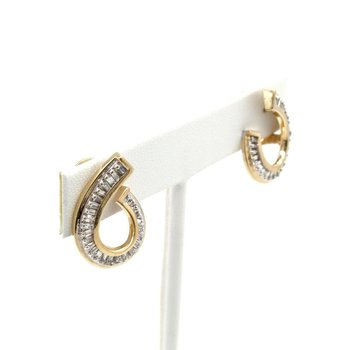 14K SOLID GOLD .50 CTW TAPERED BAGUETTE DIAMOND UNIQUE SWIRL EARRINGS #JB35-4