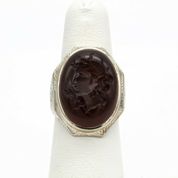 14K WHITE GOLD 9.24 CT CARNELIAN INTAGLIO GREEK GODDESS DEMETER RING #1016B-10