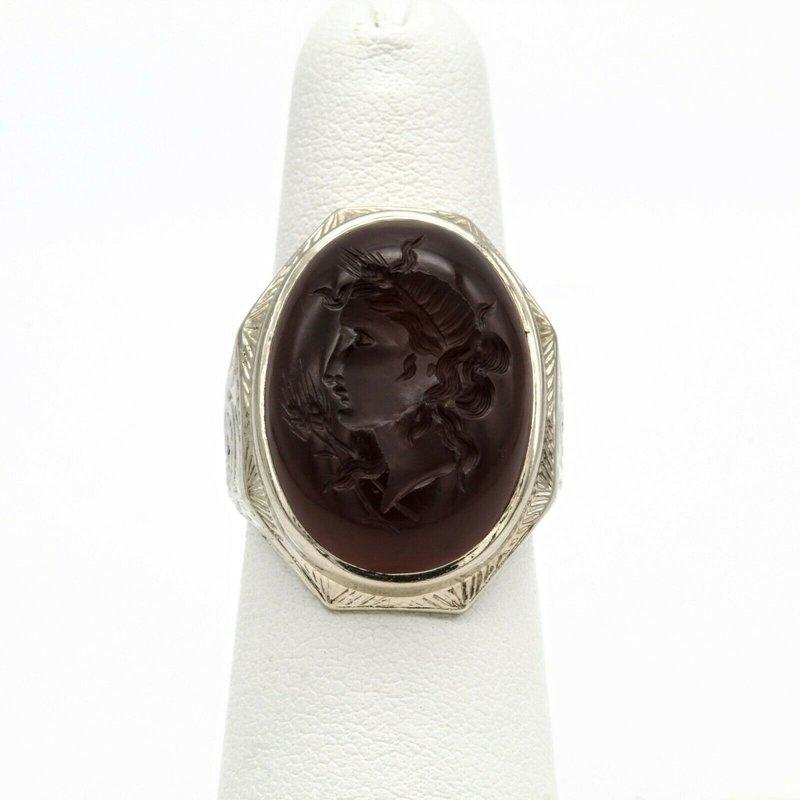 National Rarities 14K WHITE GOLD 9.24 CT CARNELIAN INTAGLIO GREEK GODDESS DEMETER RING #1016B-10