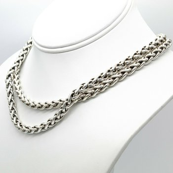 DAVID YURMAN STERLING SILVER 14K GOLD BUCKLE DOUBLE WHEAT CHAIN NECKLACE #D271-6