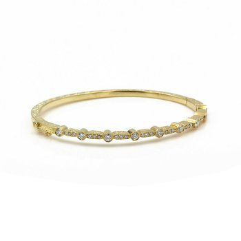 18K SOLID GOLD ROUND DIAMOND HINGED BANGLE BRACELET FILIGREE 0.69 CTW 1081B-8