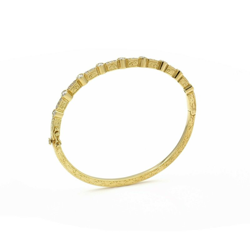 National Rarities 18K SOLID GOLD ROUND DIAMOND HINGED BANGLE BRACELET FILIGREE 0.69 CTW 1081B-8