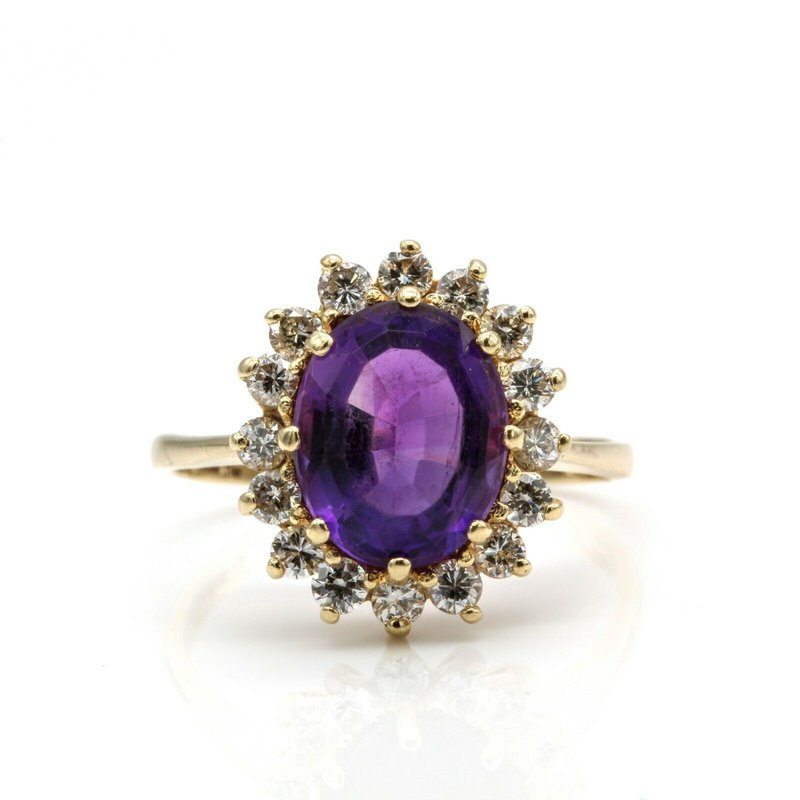 National Rarities 14K YELLOW GOLD OVAL AMETHYST RING W/ ROUND DIAMOND HALO ACCENTS VINTAGE 1033B-1