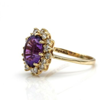 14K YELLOW GOLD OVAL AMETHYST RING W/ ROUND DIAMOND HALO ACCENTS VINTAGE 1033B-1
