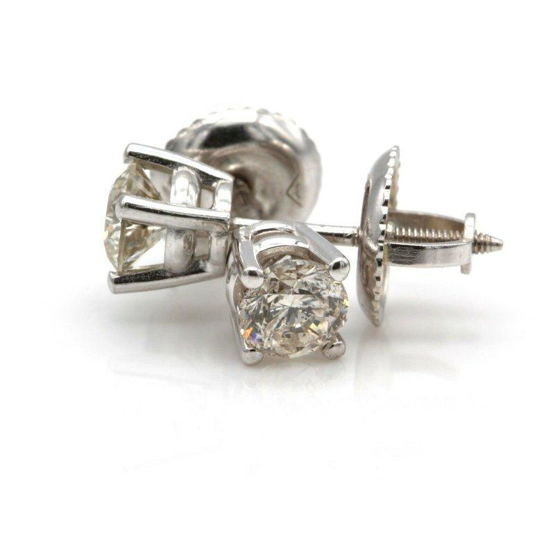 National Rarities 14K WHITE GOLD ROUND BRILLIANT CUT DIAMOND STUD EARRINGS 0.45 CTW #JB23-9