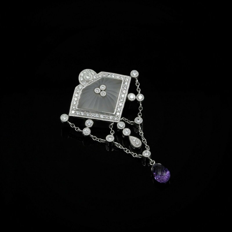 National Rarities 18K WHITE GOLD CAMPHOR GLASS DIAMOND & AMETHYST VINTAGE FESTOON BROOCH #977B-5