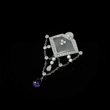 18K WHITE GOLD CAMPHOR GLASS DIAMOND & AMETHYST VINTAGE FESTOON BROOCH #977B-5