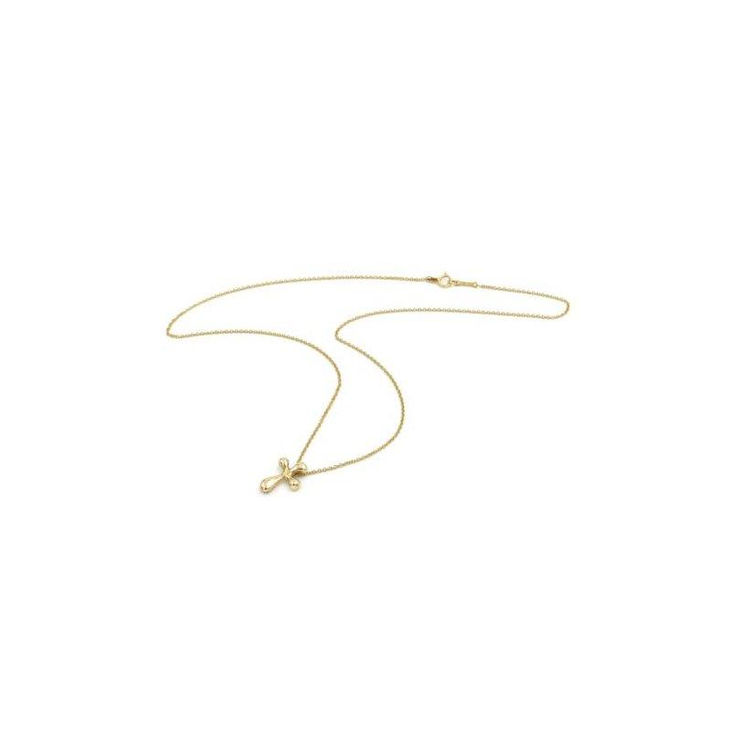 Tiffany Co TIFFANY & CO. ELSA PERETTI 18K GOLD NECKLACE CROSS PENDANT HIDDEN BAIL 1002B-10