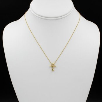TIFFANY & CO. ELSA PERETTI 18K GOLD NECKLACE CROSS PENDANT HIDDEN BAIL 1002B-10