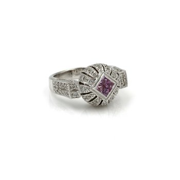 18K MODERN PINK SAPPHIRE AND DIAMOND COCKTAIL RING WHITE GOLD STUNNING #1026B-6