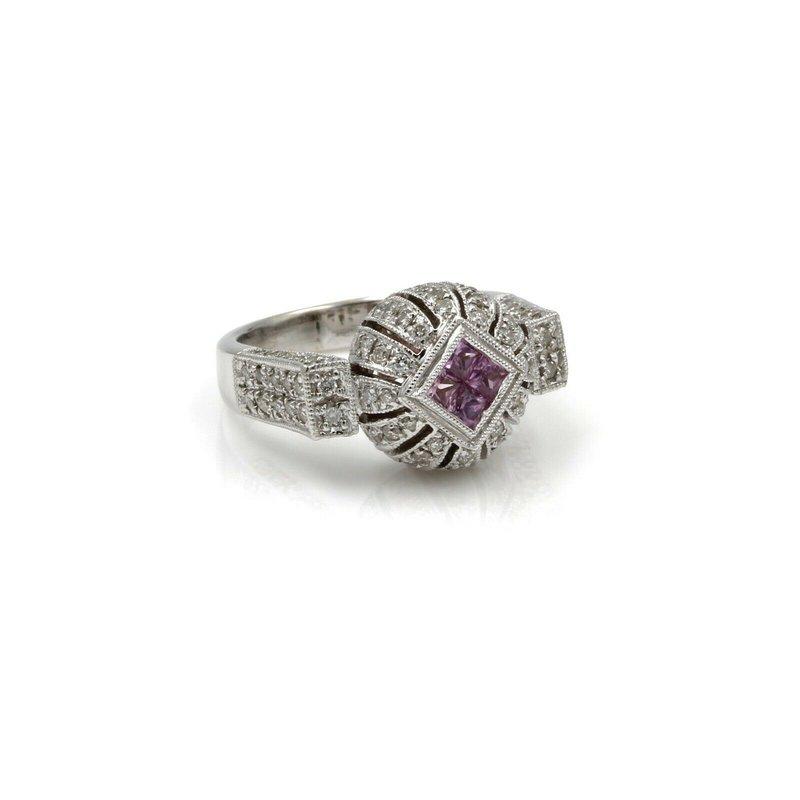National Rarities 18K MODERN PINK SAPPHIRE AND DIAMOND COCKTAIL RING WHITE GOLD STUNNING #1026B-6