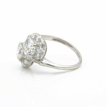 PLATINUM ROUND BRILLIANT CUT TWO-STONE BYPASS DIAMOND RING SIZE 7 #E1373-1