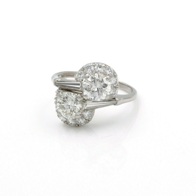 Unbranded PLATINUM ROUND BRILLIANT CUT TWO-STONE BYPASS DIAMOND RING SIZE 7 #E1373-1