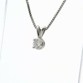 14K WHITE GOLD ROUND BRILLIANT CUT DIAMOND SOLITAIRE NECKLACE 0.43 CTW J683-1