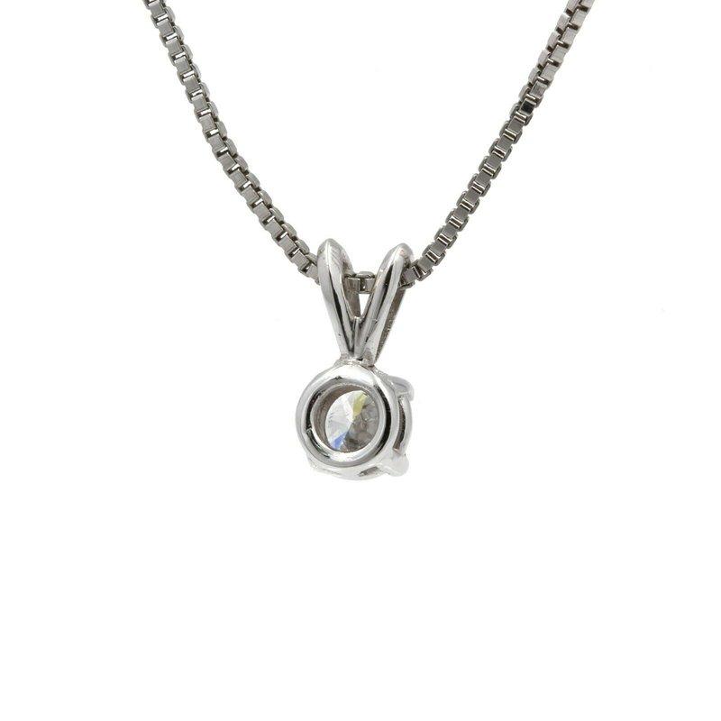 National Rarities 14K WHITE GOLD ROUND BRILLIANT CUT DIAMOND SOLITAIRE NECKLACE 0.43 CTW J683-1