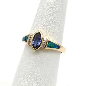 14K YELLOW GOLD .55 CTW MARQUISE IOLITE DIAMOND BLACK OPAL INLAY RING #1016B-8