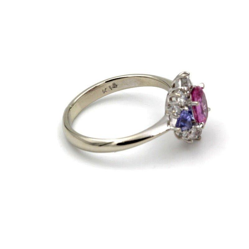 National Rarities 14K WHITE GOLD 1.31 CTW PINK SAPPHIRE TANZANITE DIAMOND RING SIZE 6.25 #961B-6