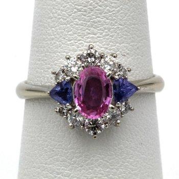 14K WHITE GOLD 1.31 CTW PINK SAPPHIRE TANZANITE DIAMOND RING SIZE 6.25 #961B-6