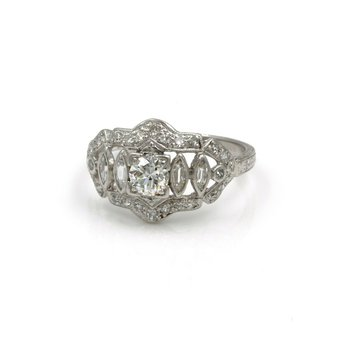 90% PLATINUM/ 10% IRIDIUM DIAMOND RING .60 CTW MARQUISE ROUND SZ 5.25 #1007B-3