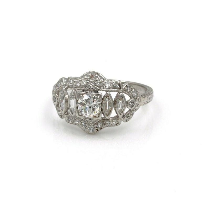 National Rarities 90% PLATINUM/ 10% IRIDIUM DIAMOND RING .60 CTW MARQUISE ROUND SZ 5.25 #1007B-3