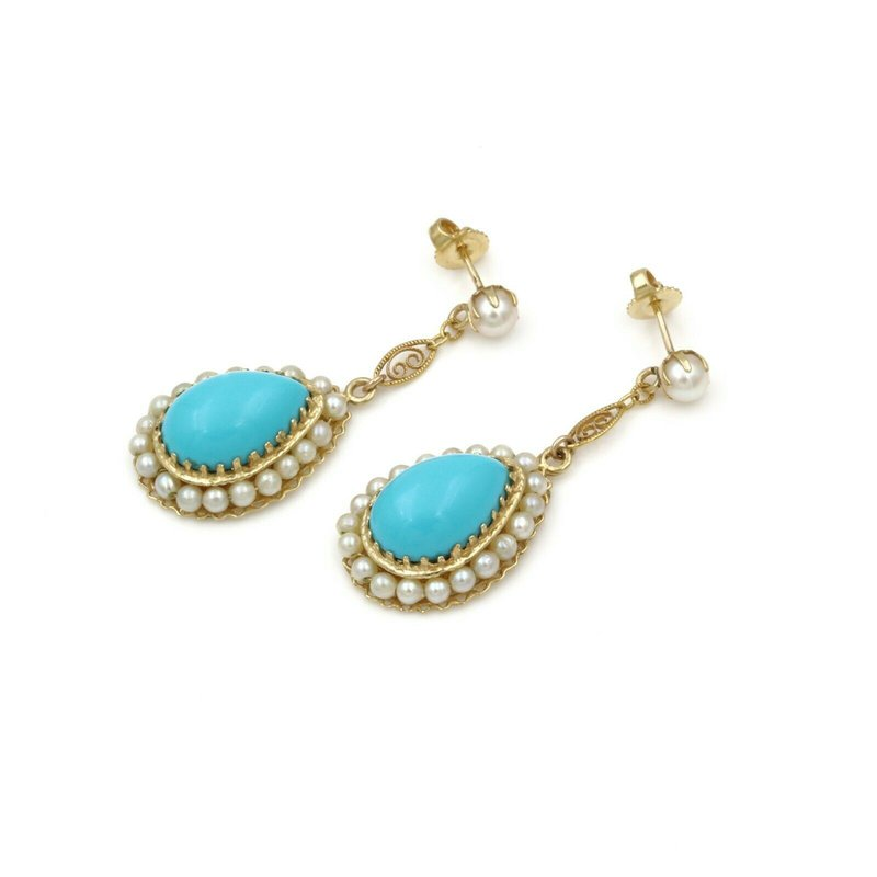 National Rarities 14K GOLD VINTAGE PEAR TURQUOISE CABOCHON AND PEARL HALO DANGLE EARRINGS #1104B-2