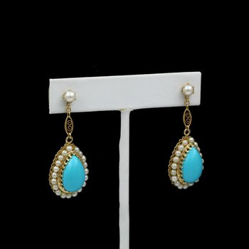 14K GOLD VINTAGE PEAR TURQUOISE CABOCHON AND PEARL HALO DANGLE EARRINGS #1104B-2