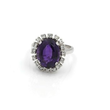 14K WHITE GOLD OVAL CUT 5.00CT AMETHYST DIAMOND ACCENT COCKTAIL RING #J3231-2