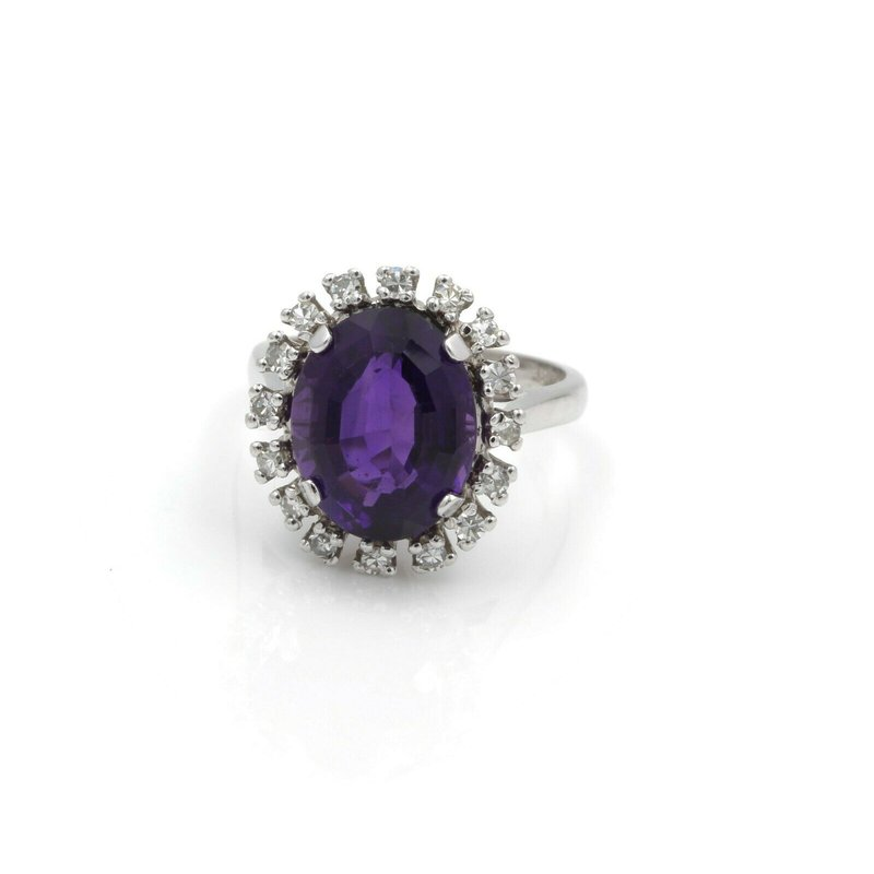 Amethyst 14K WHITE GOLD OVAL CUT 5.00CT AMETHYST DIAMOND ACCENT COCKTAIL RING #J3231-2