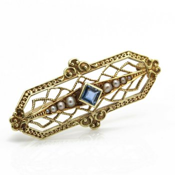 ART DECO 15K YELLOW GOLD DELICATE FILIGREE SAPPHIRE AND SEED PEARL PIN #JB63-1