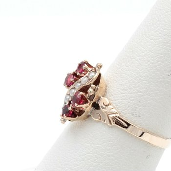10K YELLOW GOLD ROUND RUBY AND SEED PEARL COCKTAIL RING SIZE 6.75 #JB30-3