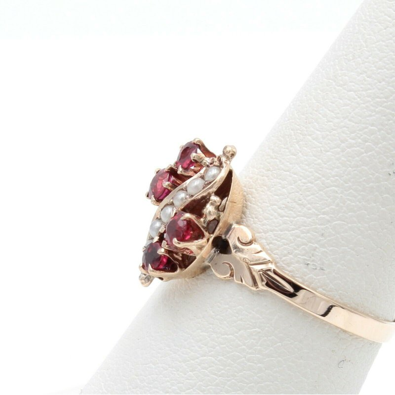 Ruby 10K YELLOW GOLD ROUND RUBY AND SEED PEARL COCKTAIL RING SIZE 6.75 #JB30-3