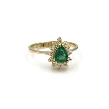 18K YELLOW GOLD .87 CT EMERALD & .25 CTW DIAMOND ACCENT RING SIZE 6.75 #1007B-6