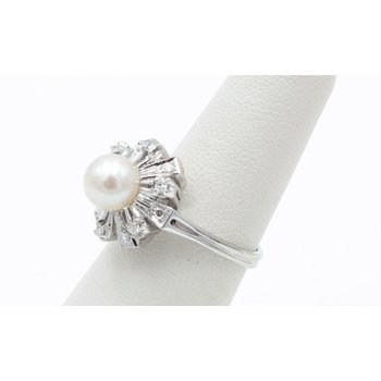 18K WHITE GOLD ROUND PEARL SINGLE CUT ROUND DIAMOND ACCENT COCKTAIL RING #JB30-4
