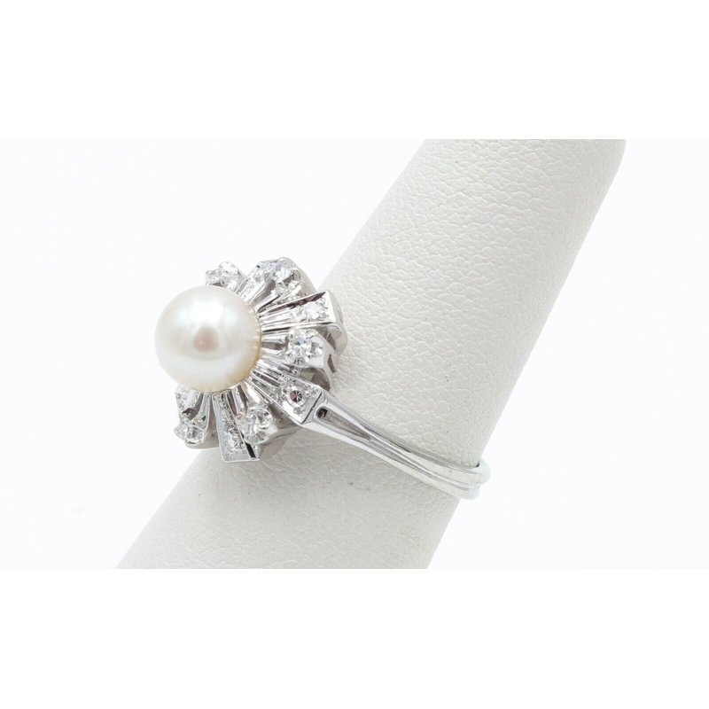 Unbranded 18K WHITE GOLD ROUND PEARL SINGLE CUT ROUND DIAMOND ACCENT COCKTAIL RING #JB30-4