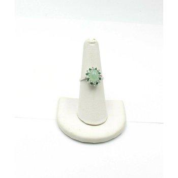 14K WHITE GOLD GREEN STAR SAPPHIRE ROUND DIAMOND EMERALD HALO RING SZ 6.5 JB31-2