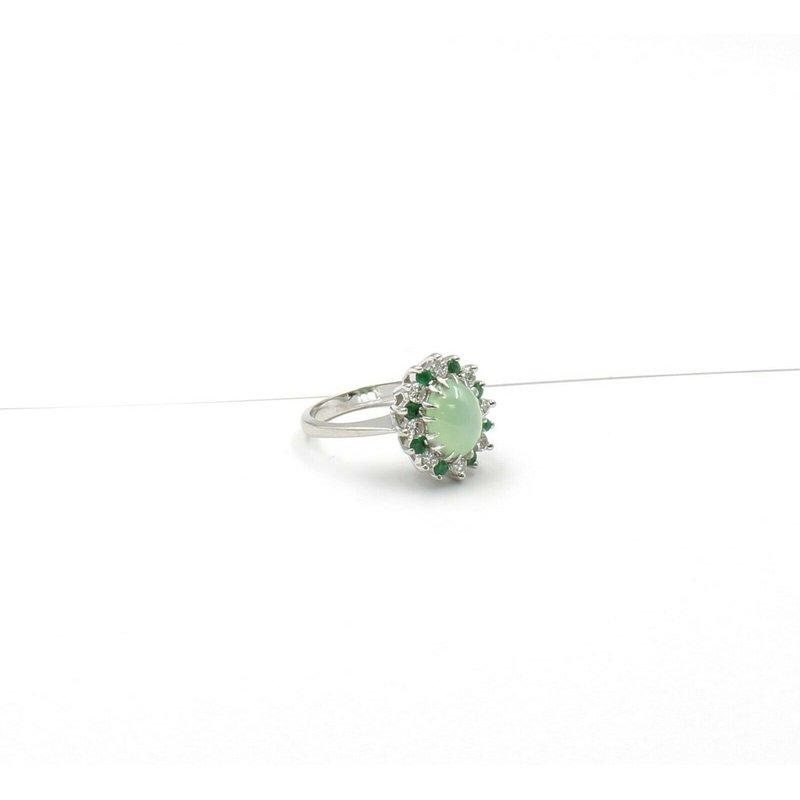 Halo 14K WHITE GOLD GREEN STAR SAPPHIRE ROUND DIAMOND EMERALD HALO RING SZ 6.5 JB31-2