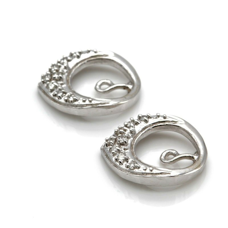 National Rarities VINTAGE 14K WHITE GOLD AND ROUND DIAMOND EARRING JACKETS 0.16 CTW #JB23-5