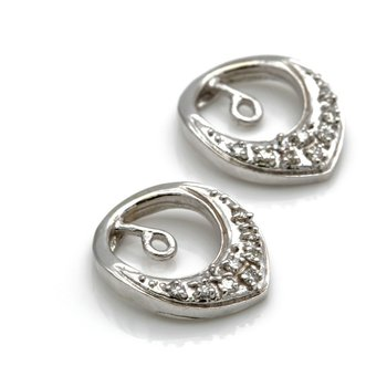VINTAGE 14K WHITE GOLD AND ROUND DIAMOND EARRING JACKETS 0.16 CTW #JB23-5