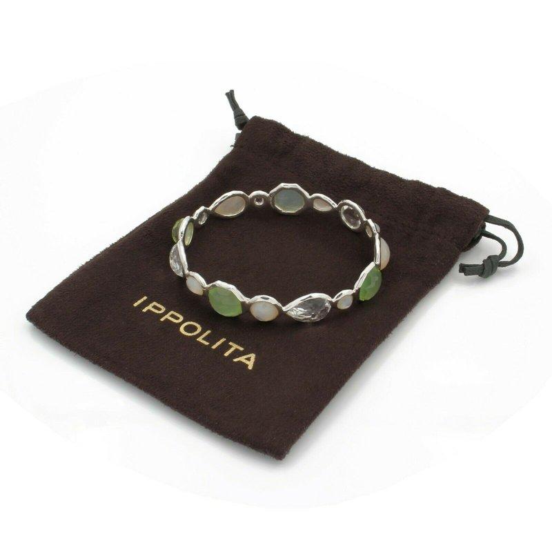 Ippolita IPPOLITA STERLING SILVER 16 STONE ROCK CANDY GREEN BANGLE BRACELET NR# D26-8