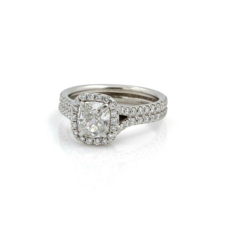 Unbranded HALO ENGAGEMENT GIA 1.62CTW CUSHION G VS2 DIAMOND PLATINUM RING SIZE 3.75#J573-1