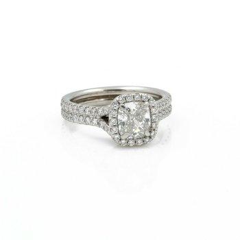 HALO ENGAGEMENT GIA 1.62CTW CUSHION G VS2 DIAMOND PLATINUM RING SIZE 3.75#J573-1